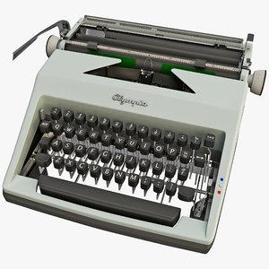 vintage typewriter olympia 1964 3d 3ds