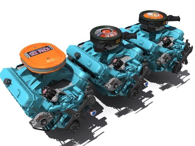 3d chrysler v8 engine 383