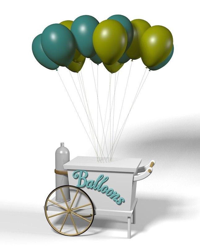 c4d push cart balloons