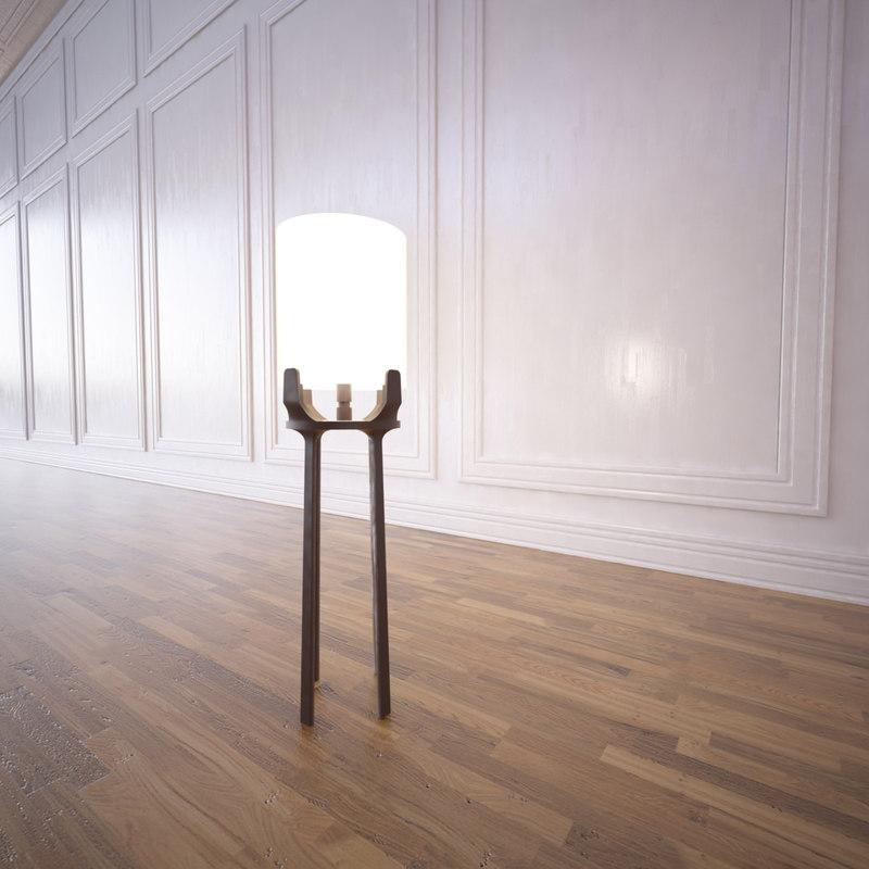 3d model of flint floor lamp annetta