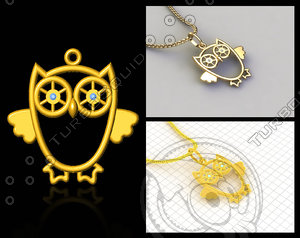 owl pendant stl prototyping 3d model