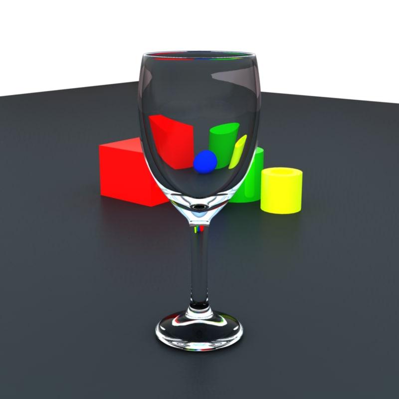 maya realistic wine glass