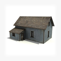 3d model of old wooden house