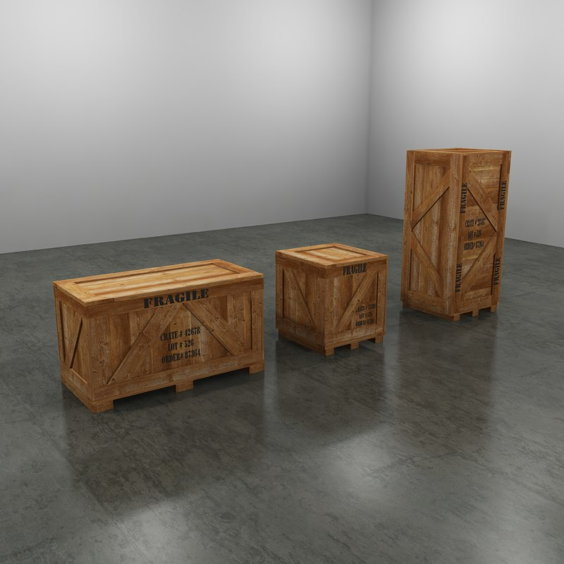 3d max wood shipping crates