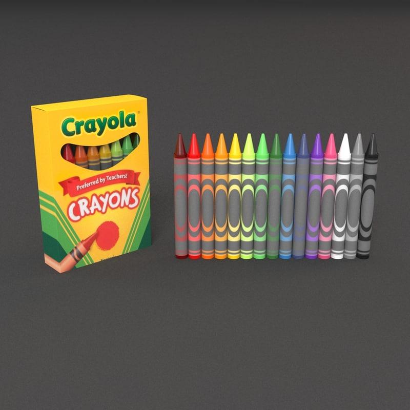 3d crayon colors paper model