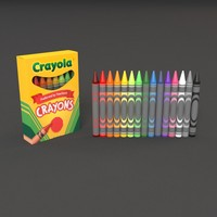 3d crayon colors paper model