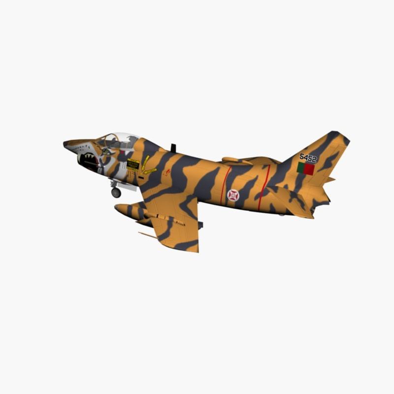3d fiat jet fighter tiger model