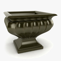 3d model fluted square urn