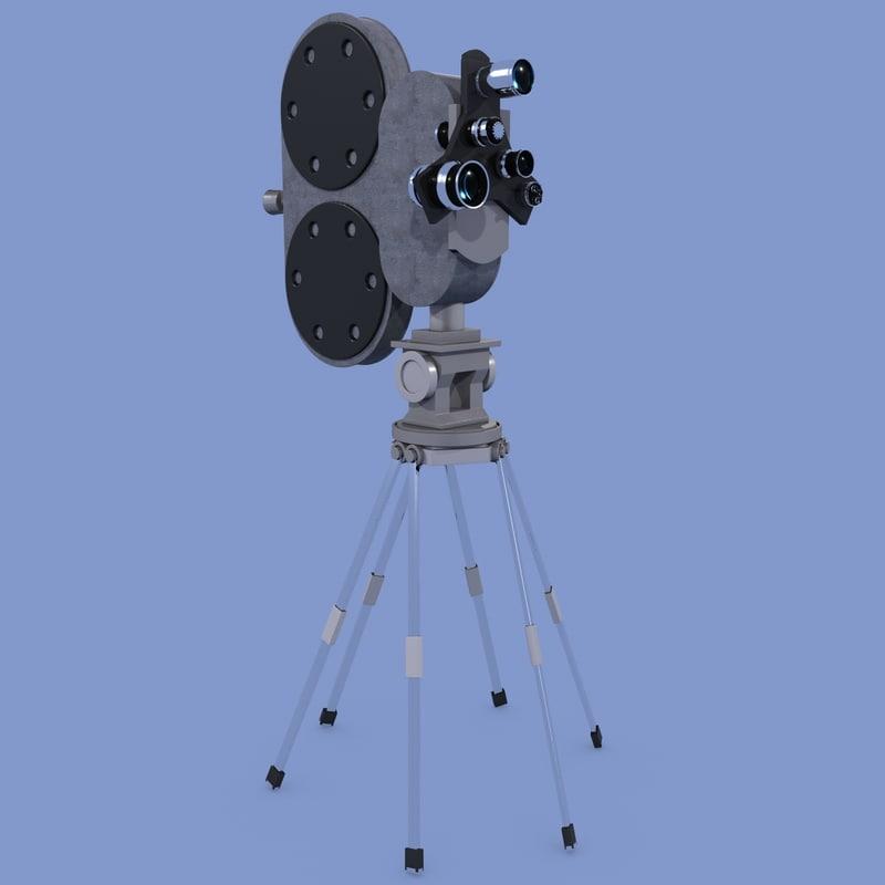 3d movie camera retro model