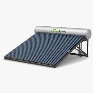 3d solar water heater model