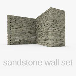 3ds sandstone wall set stones rocks