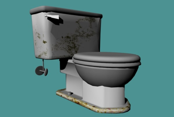 3d stained toilet model