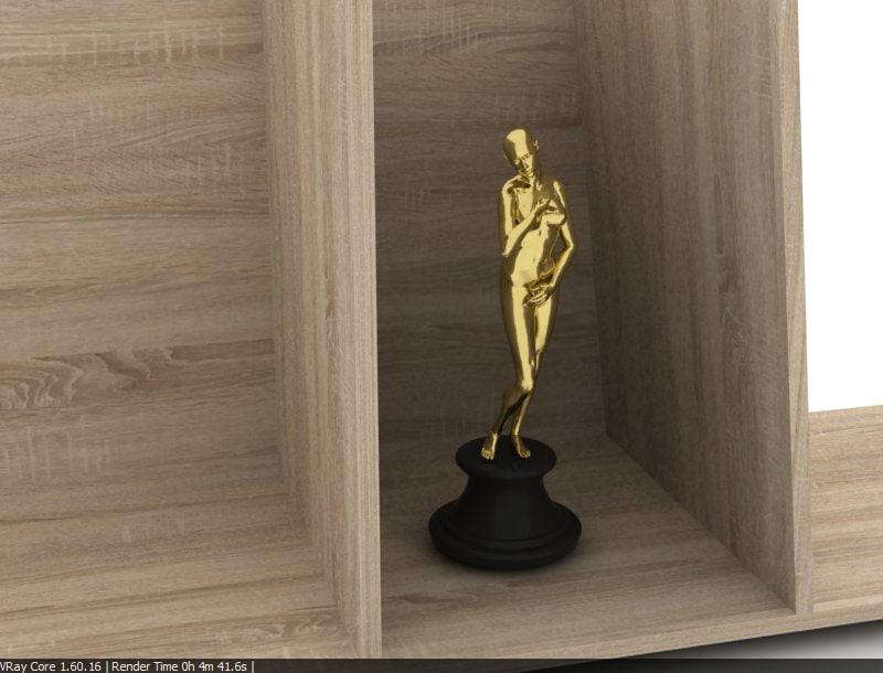 golden award statue woman human 3d model
