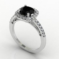 Bead Set Halo Diamond Ring