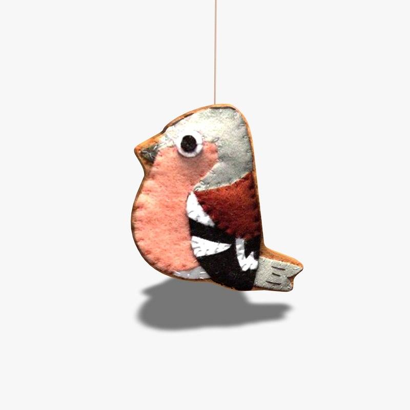 3d model handcrafted bird mobile