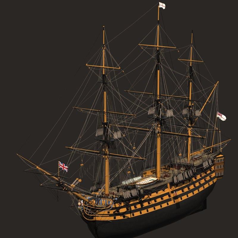 3d model hms victory ship lite