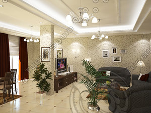 living room dining 3d max