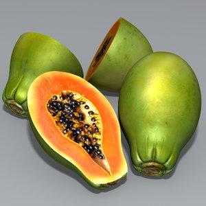 papaya sliced 3d obj