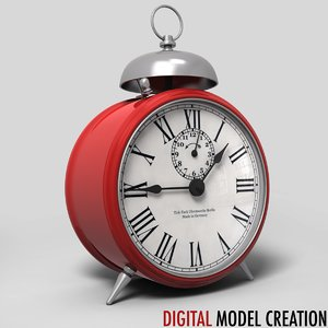 vintage alarm clock 3d obj