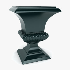 fluted square urn 3d max