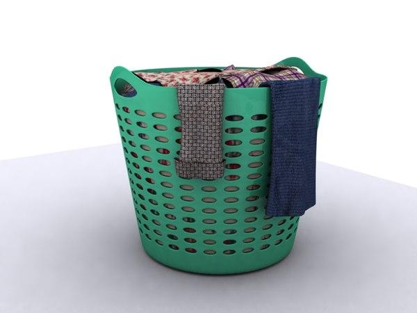 3d laundry clothing basket model