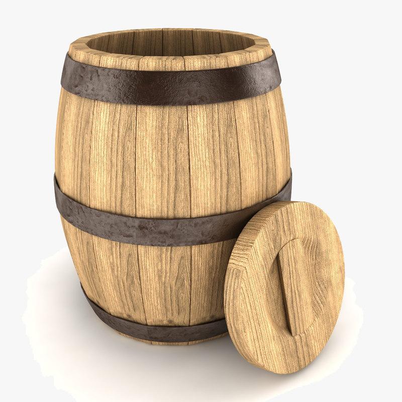 wooden barrel wood 3d fbx