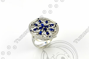 3d ring sapphire drops model