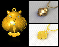 STL Prototyping Owl Male Pendant - Jewellery