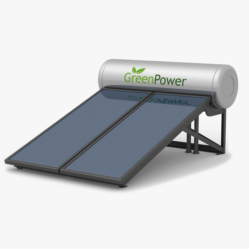 3d solar water heater panel model