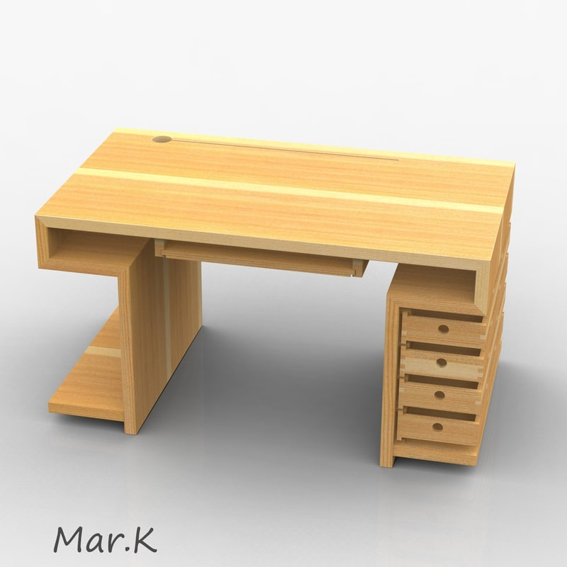 wooden computer table 3d 3ds