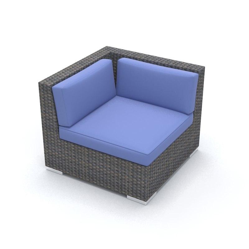 3d model corner wicker chair