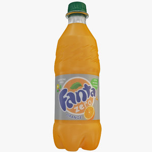 fanta orange zero bottle 3d lwo