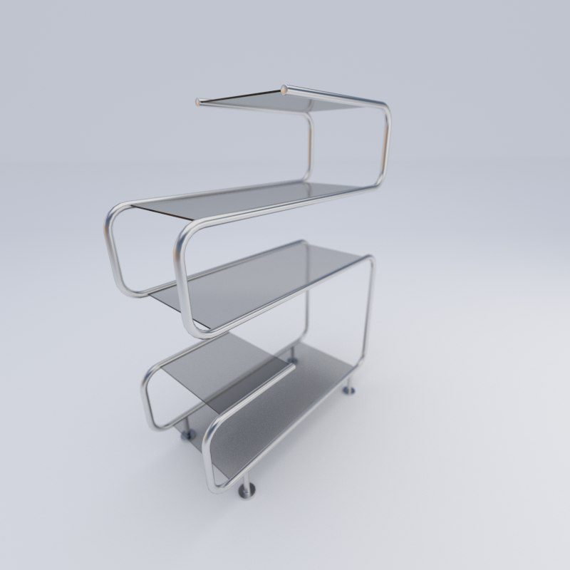 3d glass shelf model