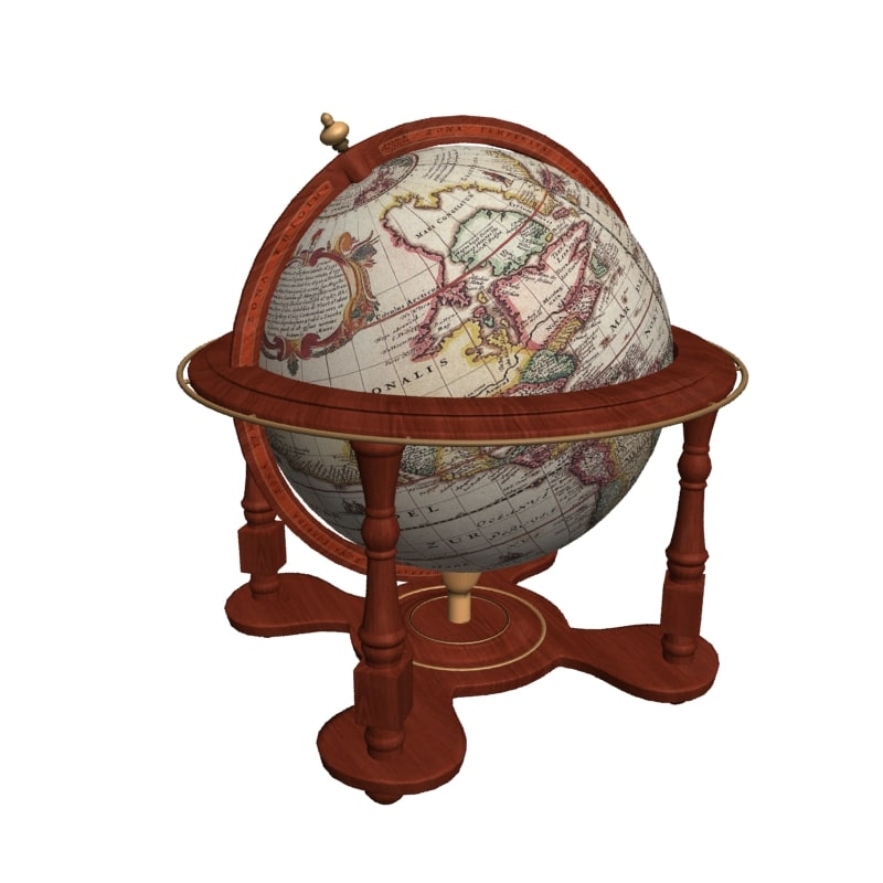 3d antique globe maps sphere