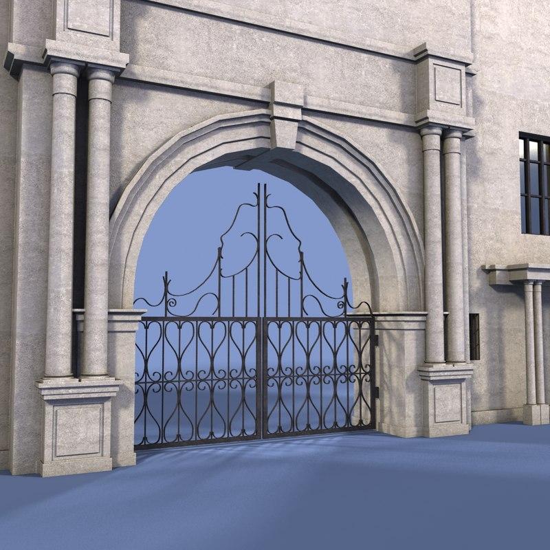 gate wall 3d max