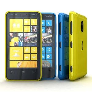 nokia lumia 620 cyan 3d max
