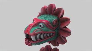 3d quetzalcoatl heads