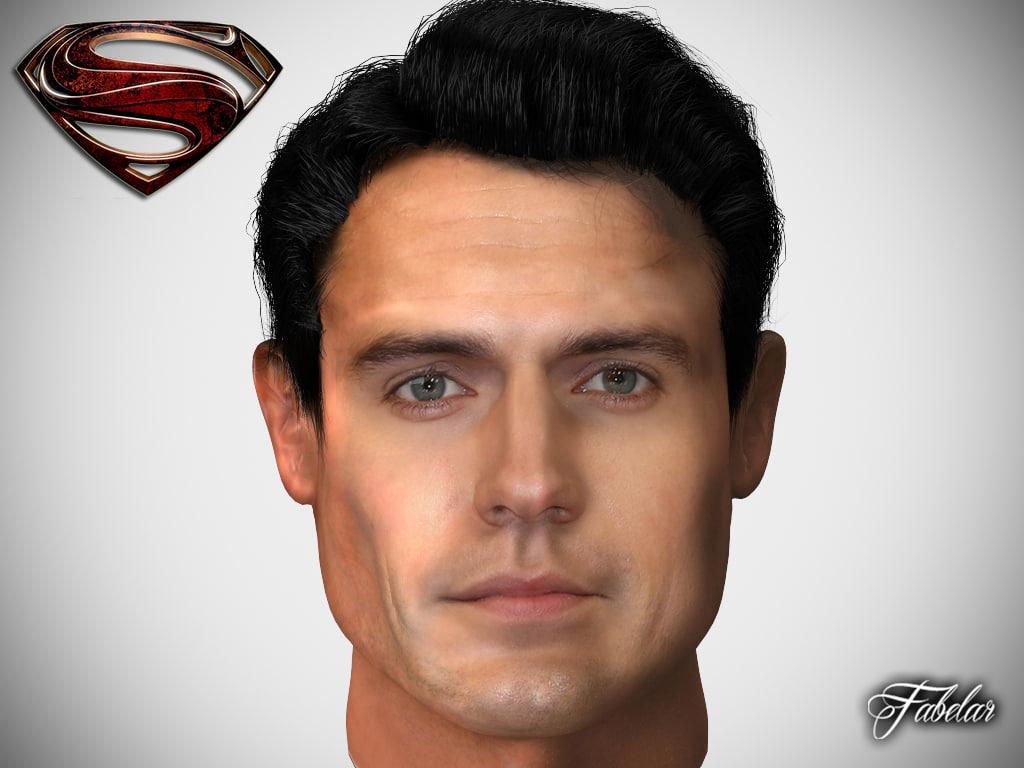 3d henry cavill head man
