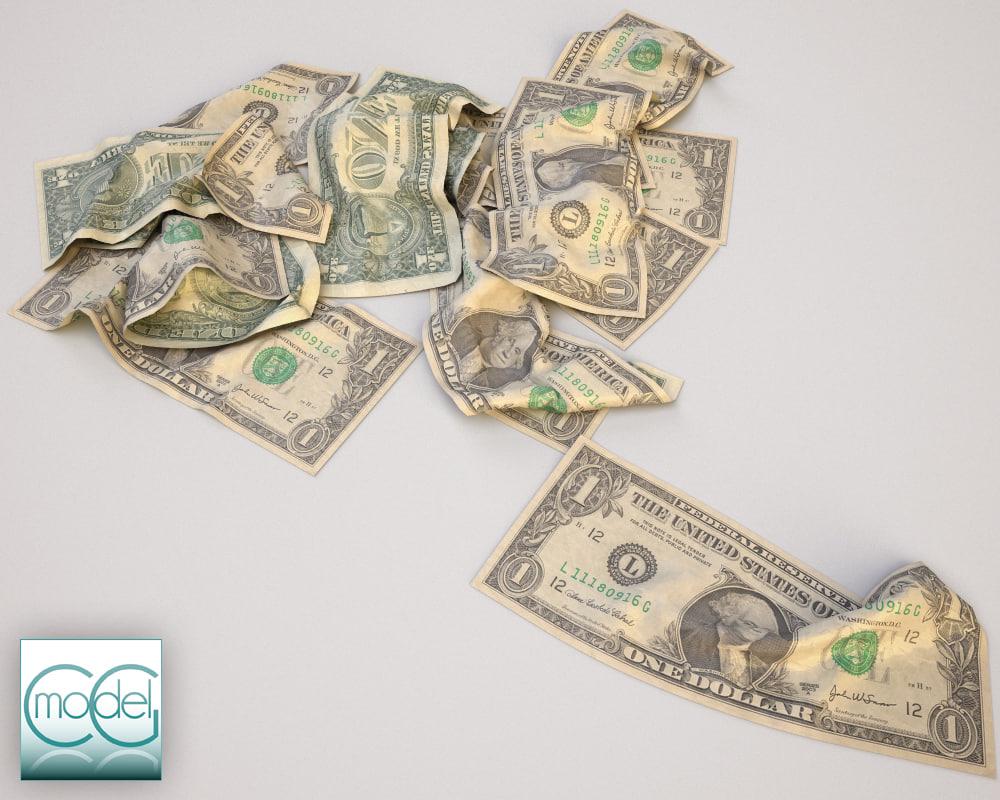 3d dollars money