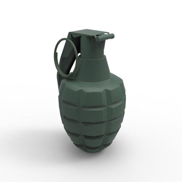 3d hand grenade model