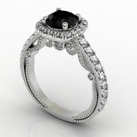 Bead Halo Diamond Ring