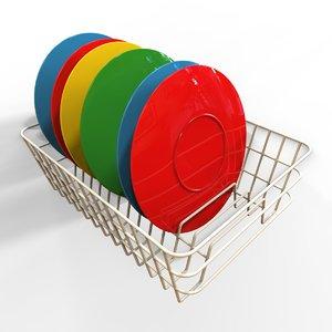 3d plates dish rack model
