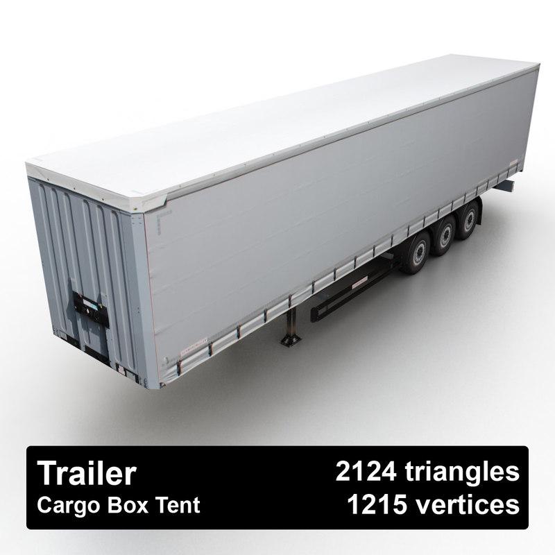cargo box tent trailer 3d model