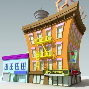 downtown cartoon building 3d max