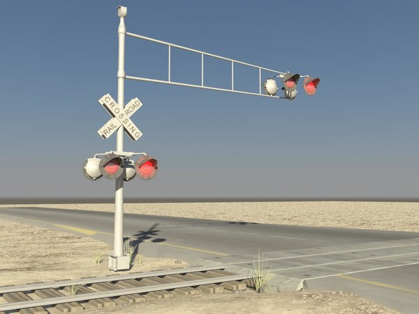 flashing rail road crossing 3d max