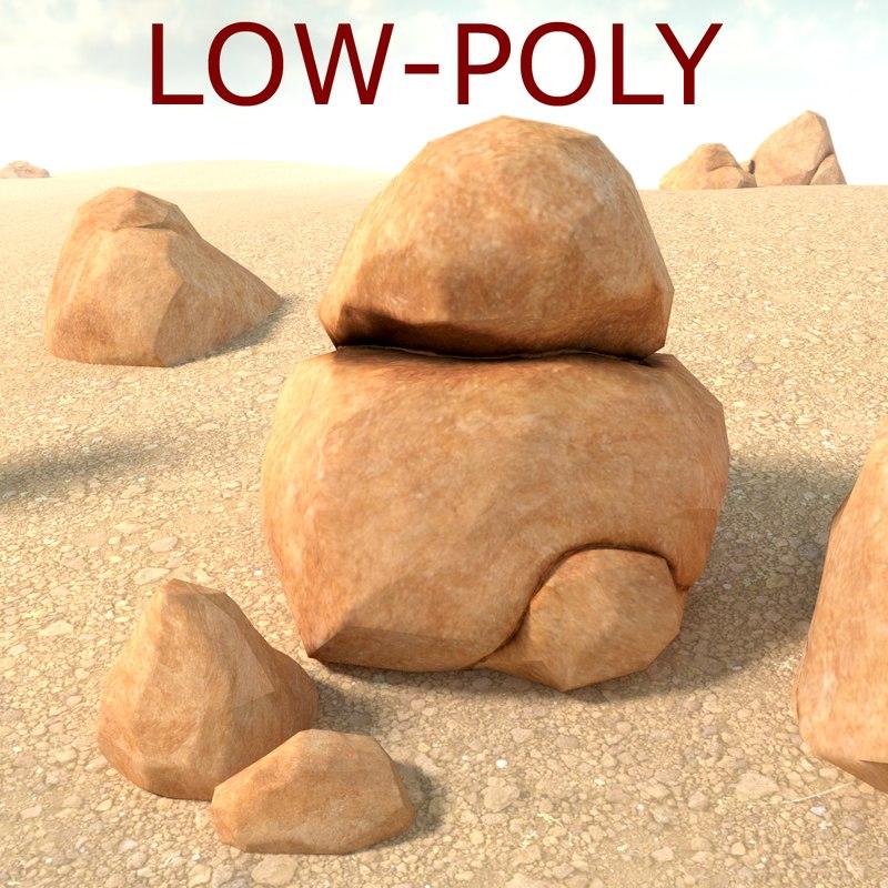 boulder sandstone rock low-poly 3d model