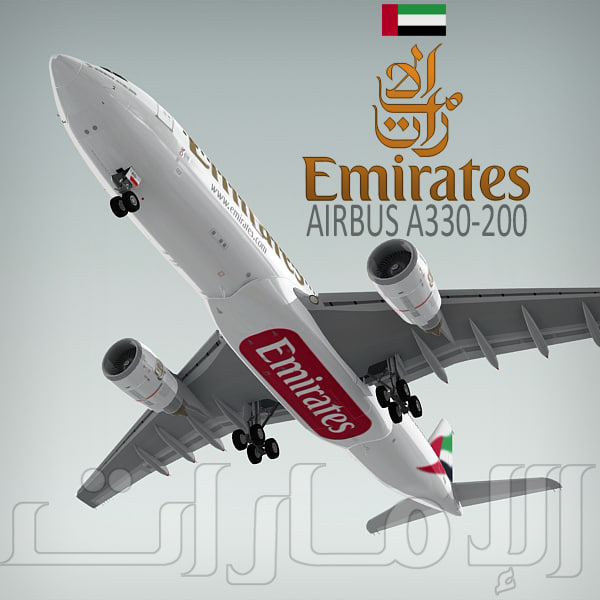 airbus a330-200 emirates 3d model