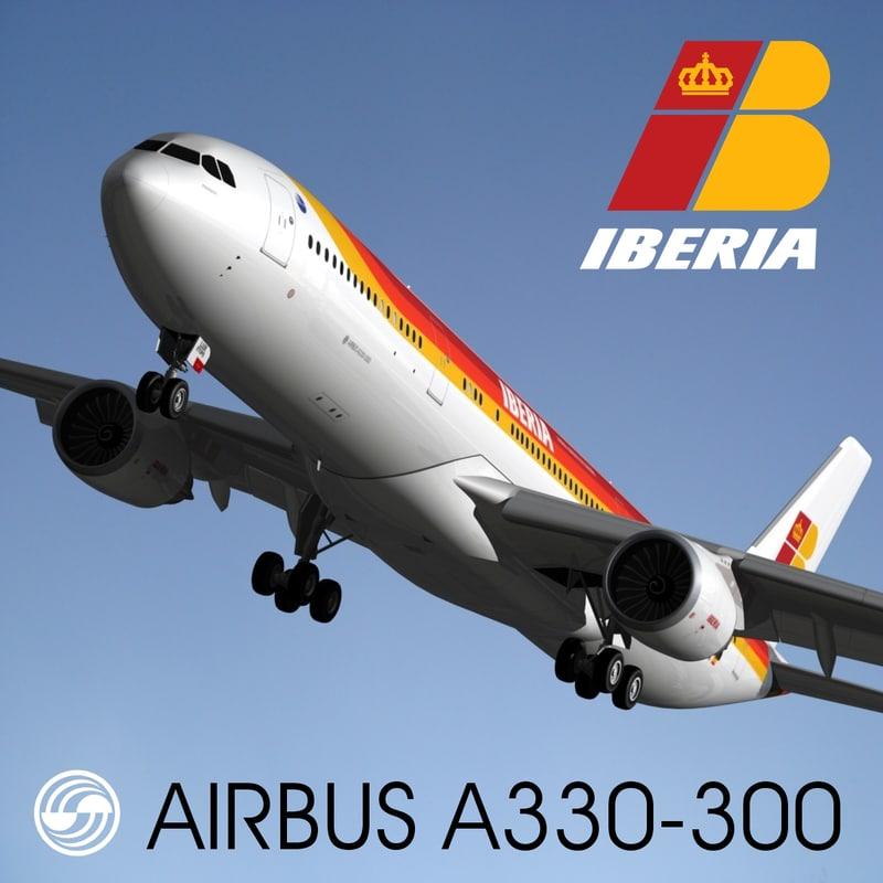3d airbus a330-300 iberia model
