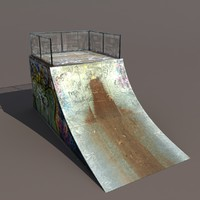3d skate pipe modelled model