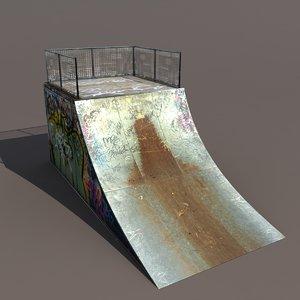 3d skate pipe modelled model